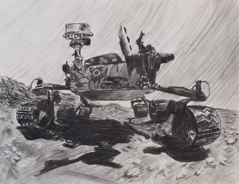 mars rover on charcoal